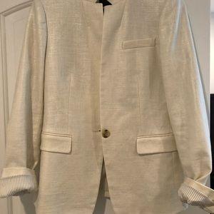 J crew brand new cream/shimmer linen blazer